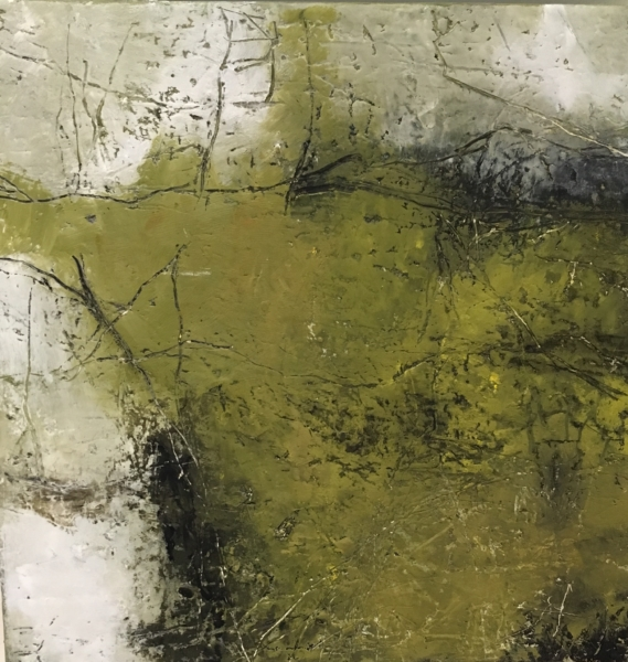 abstract painting once in the woods in green