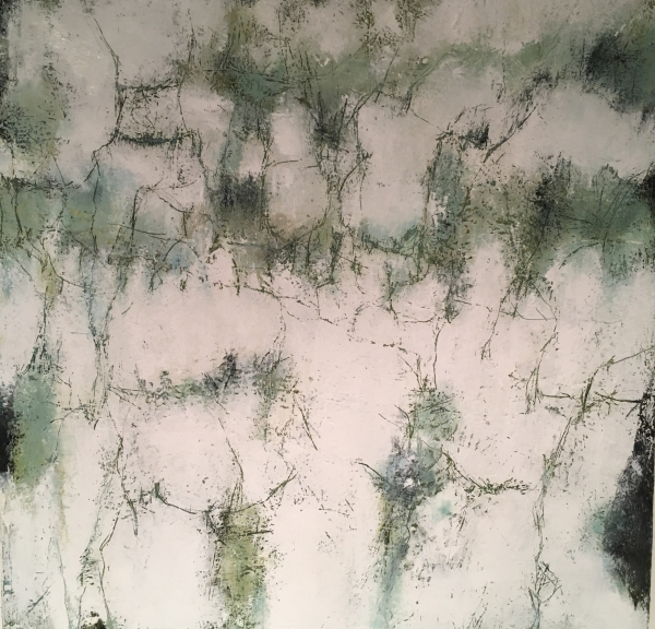 "mixed media painting ""The Scent of Snow"""