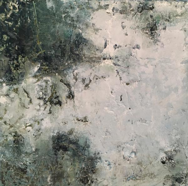 "mixed media painting ""Window Seat, Row 14"""