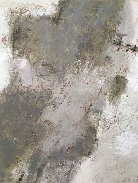 abstract painting in grey and white titled Her Secret Notebook