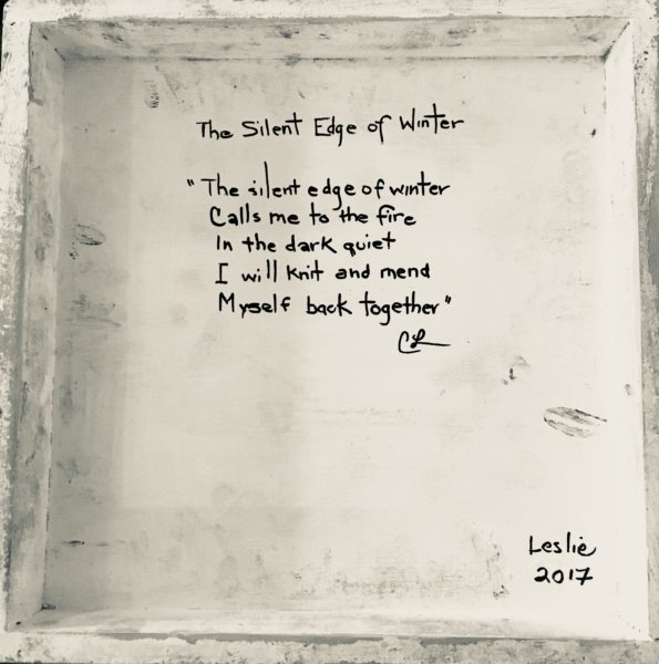 a poem called the silent edge of winter written on the back of a painting by Carole Leslie